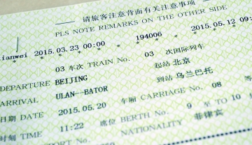 The Chinese train ticket conveniently also in english